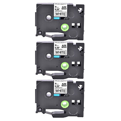 3pk Fits Brother P-touch Tz221 Tze221 Black On White Label Tape Pt-h100 9mm