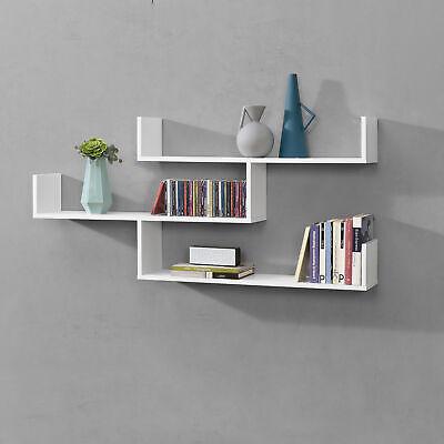 [en.casa] Wandregal Hängeregal Bücherregal Schweberegal Wandboard CD Regal Weiß