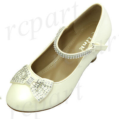 Childrens Ivory Dress Shoes (New girl's kids rhinestones formal dress wedding shoes ivory bow sticky)
