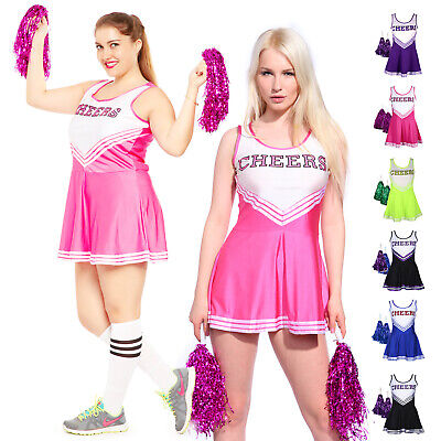 Damen Cheerleader Cheerleading Kostüm Mädchen Uniform Karneval Partymit Pom Poms