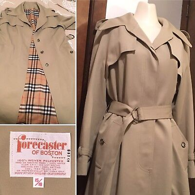 Vtg Forecaster of Boston Trenchcoat Fall Fashion Burberry Plaid Design USA 15/16