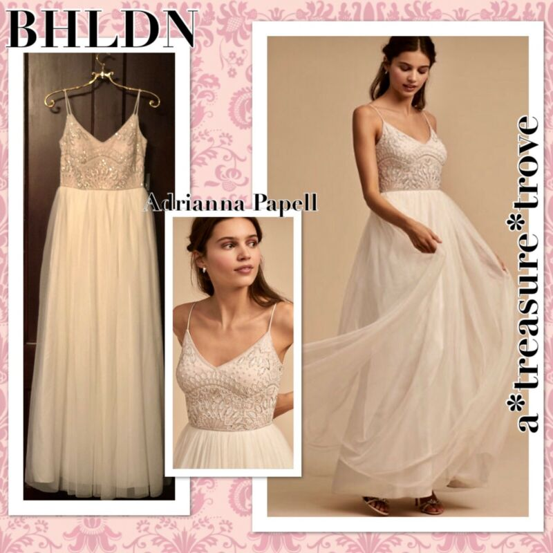 NWT $350 BHLDN Adrianna Papell VIOLETTA Sz 6 & 10 Ivory Pink Beaded Tulle Gown