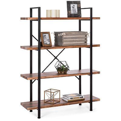 Open Bookshelf Furniture with 4 Wooden Shelves Organizer Ind