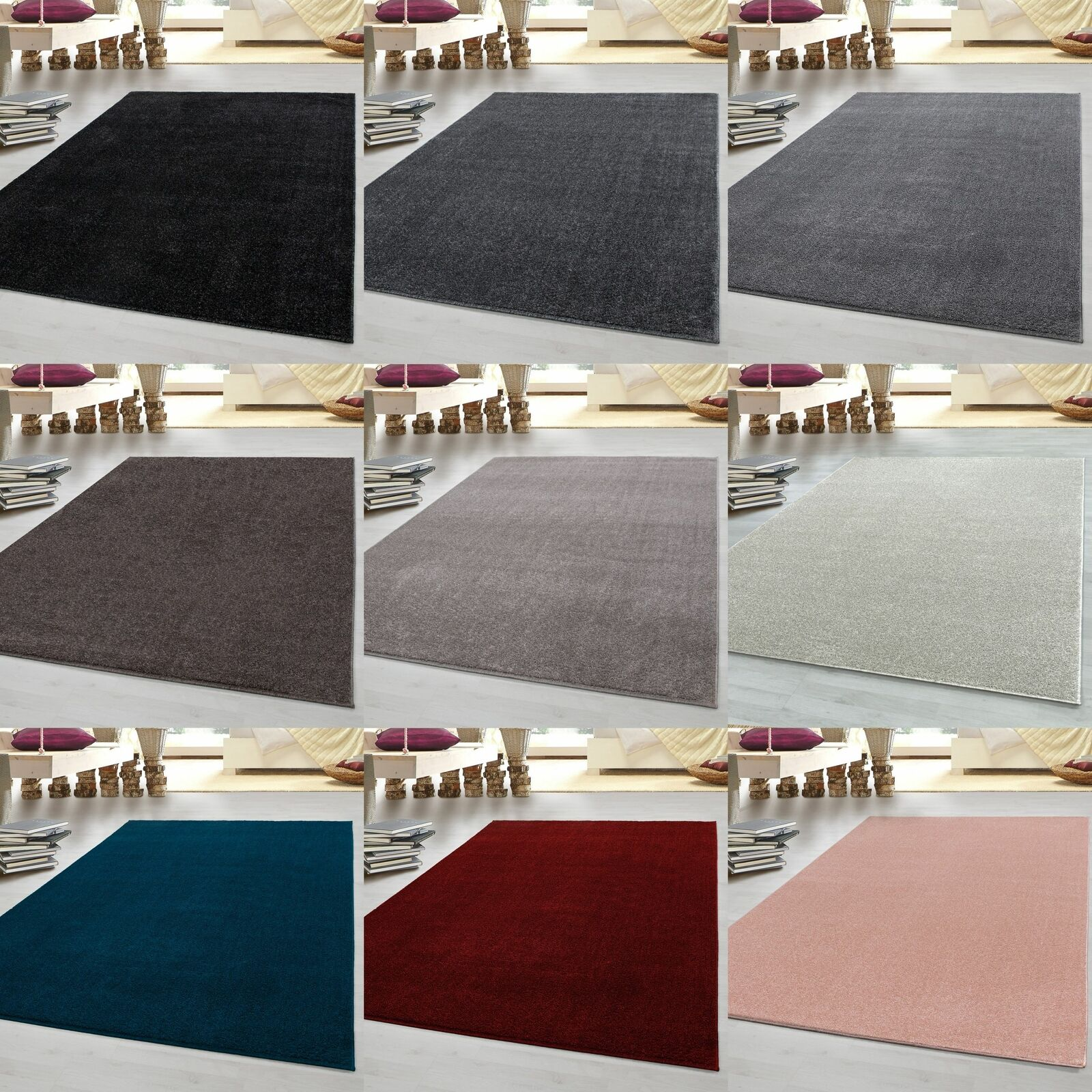 Kurzflor Flachflor Teppich Gabbeh Optik Wohnzimmerteppich Einfarbig 7 Farben