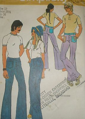 Vintage 1970s Simplicity 9483 Hip Hugger Bell Bottom Pants Pattern 27 waist ()