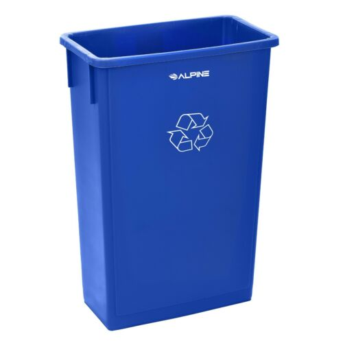 Alpine Industries 23 Gallon Blue Trash Can Commercial Recycling Bin