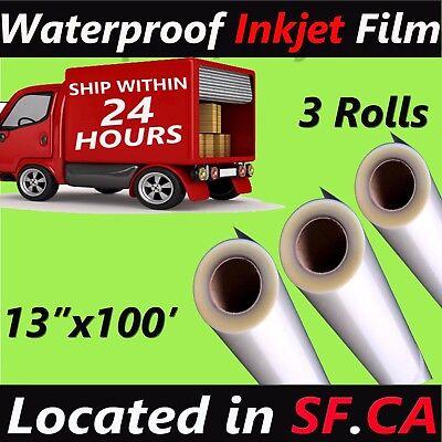 3 Rolls13 X 100waterproof Inkjet Transparency Film For Silk Screen Printing