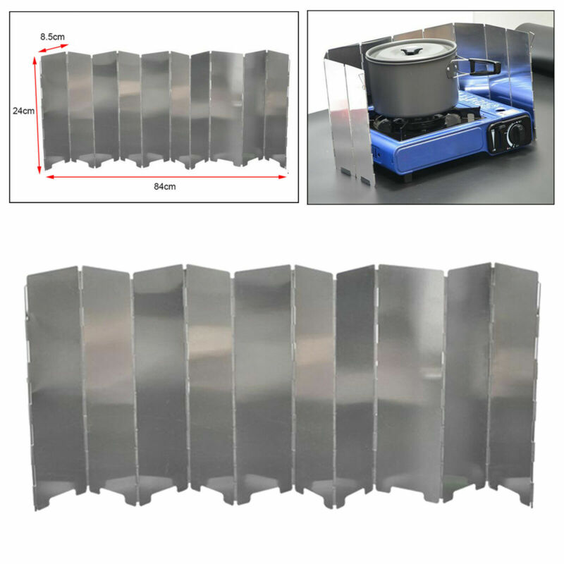 Folding Camping Stove Windscreen 10 Plates Aluminum Cooking Stove Windshield