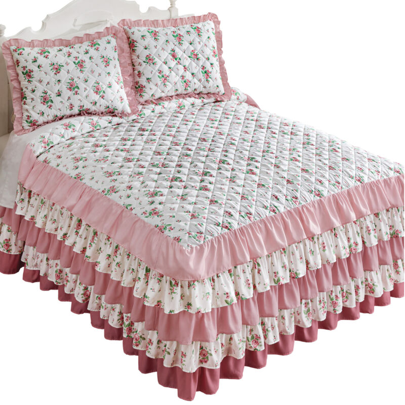 5 Tier Luxurious Rosebud Ruffled Bedspread
