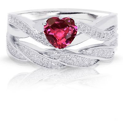 - Infinity Celtic Ruby Red Heart Engagement Wedding Sterling Silver Ring Set