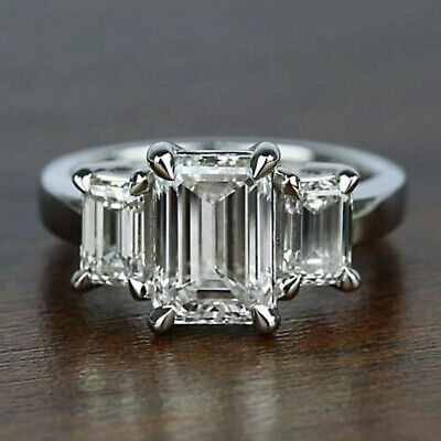 4.02 ct Emerald cut Solitaire Diamond Engagement Ring Solid 14K White gold  Solitaire Square Ring