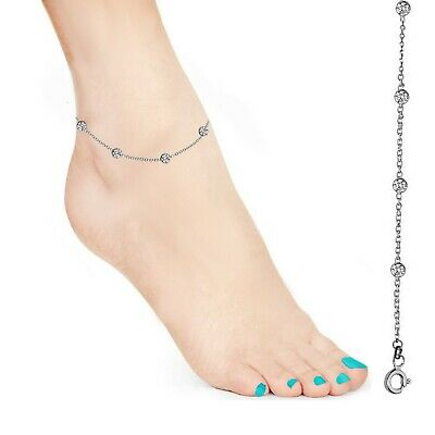 Sterling Silver Designer Inspired CZ By The Yard Anklet Foot Chain 10
