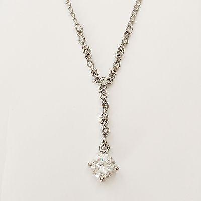 Women Fashion Jewelry Silver Chain Necklace Rhinestone Crystal Pendant Gift Box