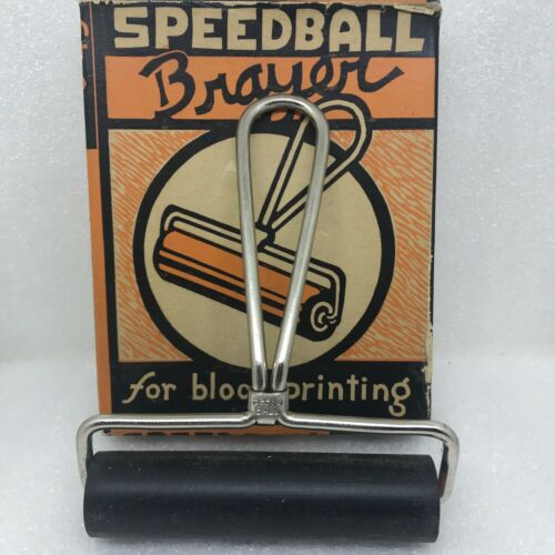 "VTG Speedball 4"" Brayer #49 Block Printing Roller Tool ~ USA ~ HUNT Mfg ~ w/ Box"