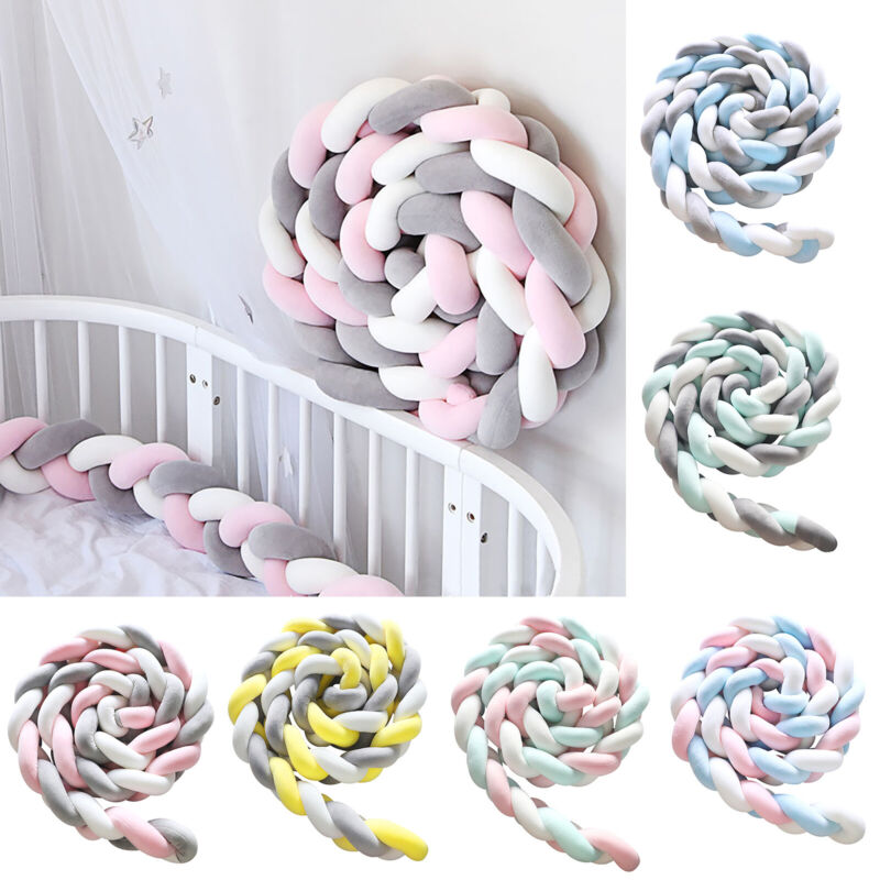 Crib Protector Breathable Baby Bed Bumper Bedding Knot Newborn Cushion Home Pad