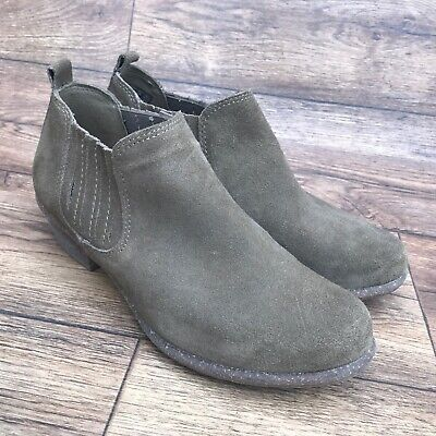 SIZE UK 5 D CLARKS ARTISAN WILROSE JADE LIGHT BROWN SUEDE PULL ON ANKLE BOOTS