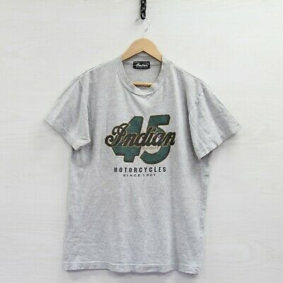 Vintage Indian Motorcycles T-Shirt Size Large Gray 90s 45 Scout CA26738