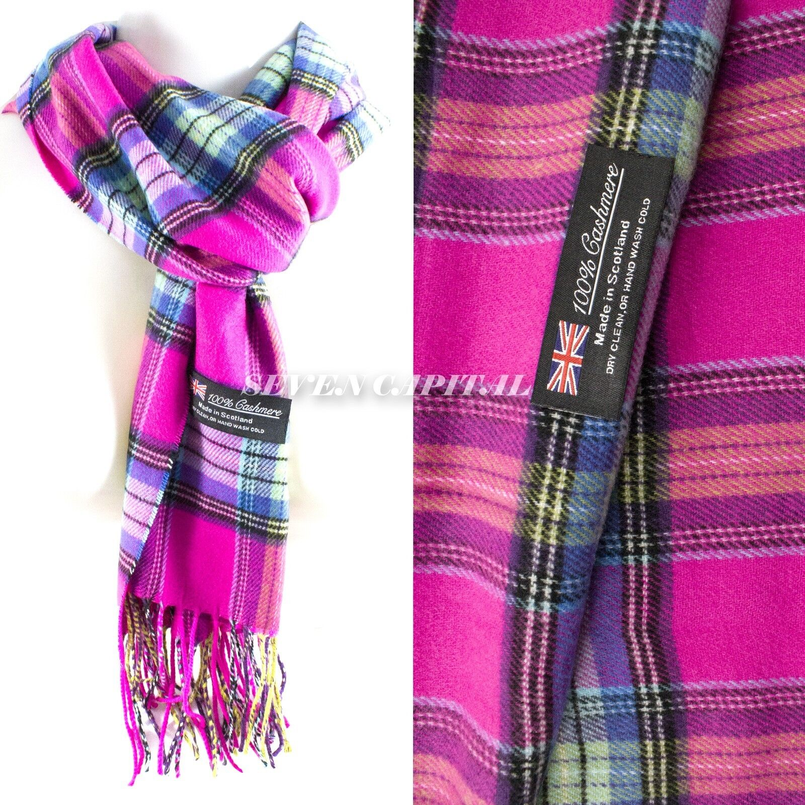 Mens Womens Winter Warm SCOTLAND Made 100% CASHMERE Scarf Scarves Plaid Wool 23. Plaid: Pink
