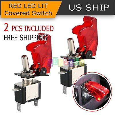 (2PCS Red Cover LED Toggle Switch Racing SPST ON/OFF 20A ATV 12V for Car Truck)