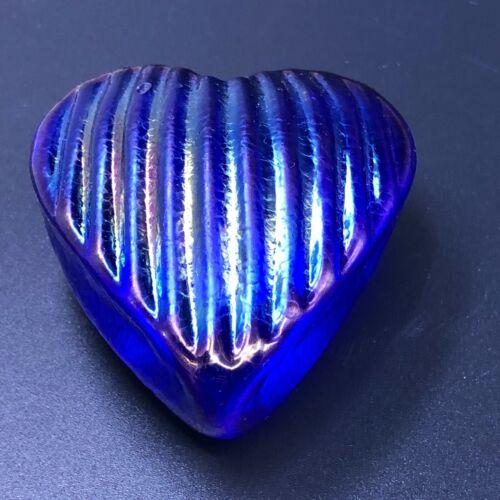 Signed Robert Held Art Glass Heart Paperweight Iridescent Blue RHAG Foil Label