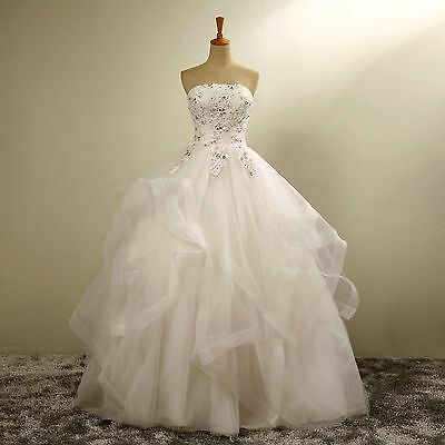New White  Ivory Ball Gown Lace Wedding L Dress Custom Size2 4 6 8 10 12 14 16