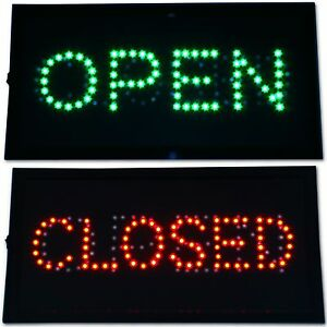 Open & Closed 2 in 1 LED Sign Store neon close Business Bar Pub Shop Green Red