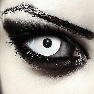 Weiße farbige Zombie Kontaktlinsen mit Stärke für Halloween Kostüm
