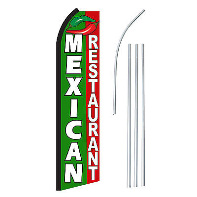 Mexican Restaurant - Advertising Sign Swooper Feather Banner Flag Pole Only