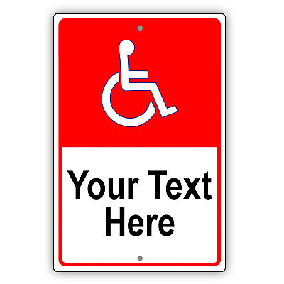 Handicap And Disabled Personalized Text Custom Design Aluminum Metal Sign