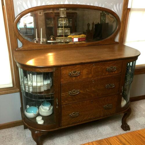 Oak buffet beveled glass bowed doors quarter sawn sideboard server antique
