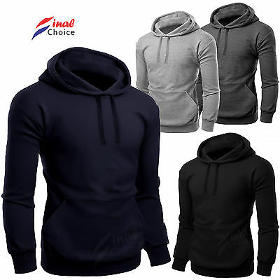 New Mens Fleece Plain Hooded Hoodies Lot More Sweatshirt Hoody Jumper S M L 2 XL