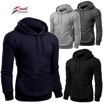 New Mens Fleece Plain Hooded Hoodies Lot More Sweatshirt Hoody Jumper S M L XL