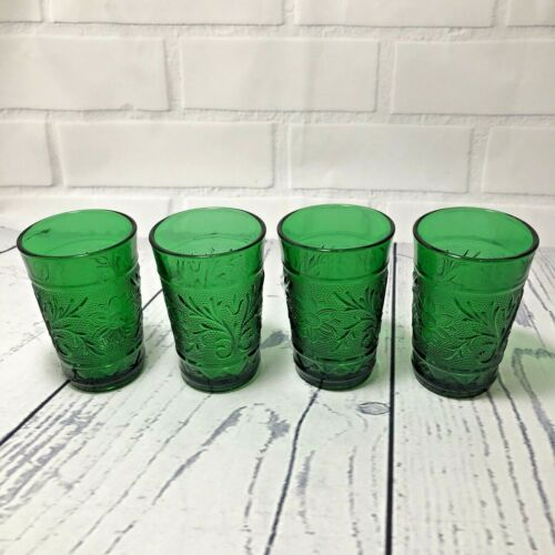 Vintage Lot Of 4 Green Anchor Hocking Oatmeal Juice Glasses