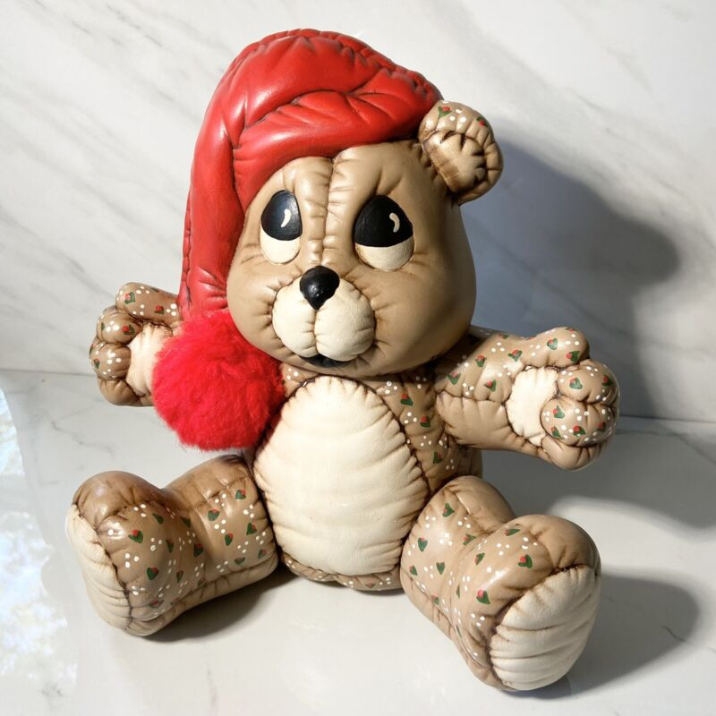 Vintage Kimple Mold Ceramic Hand Painted Quilted Christmas Teddy Bear Figurine