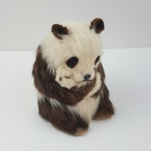 "Vintage Artisan Real Fur Panda Bear with Cub Plush Figurine 5"" Looks Realistic"