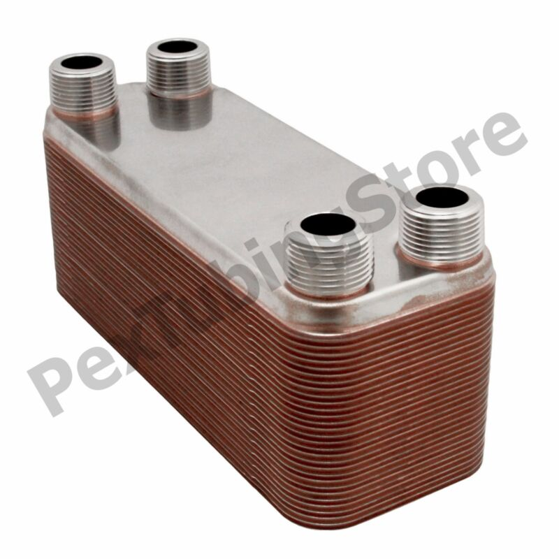 """10-Plate 3x8 Water to Water Brazed Plate Heat Exchanger, 3/4"""" MPT, 316L St Steel"""