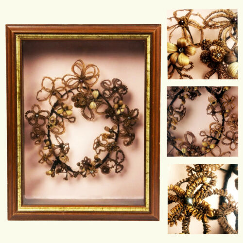 Victorian Mourning Hair Wreath in Shadow Box Remembrance Art Momento Mori