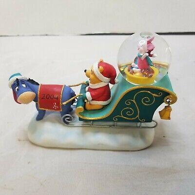 Rare Disney Winnie the Pooh Snowglobe - Eeyore Piglet Christmas Snow Globe 2004