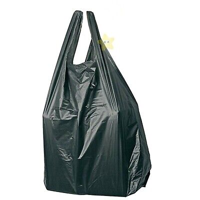 500 x BLACK PLASTIC VEST CARRIER BAGS 8x3x17