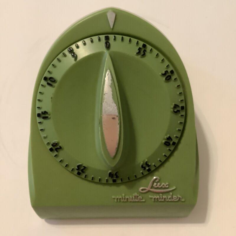Vintage Lux Minute Minder Kitchen Timer Avocado Green 1970s- 1980s Still Works