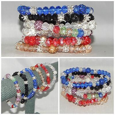 WHOLESALE LOT OF 6 BLING BEADS CRYSTALS BALLS SPACERS STRETCH BRACELETS INDIANA Bling Ball Bracelets