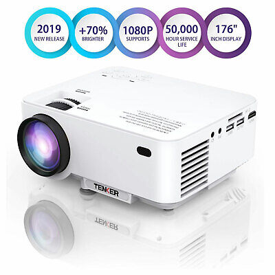 TENKER White LCD Mini Projector for Laptop iPhone Andriod Portable Home Theater