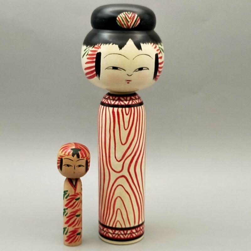 Japanese wooden  doll Ireko , Mage kokeshi ,Mokume ,Ogasawara Yoshio