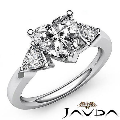 Trillion Cut 3 Stone Prong Set Heart Diamond Engagement Ring GIA I VS2 1.55 Ct