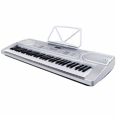 Silver 61 Key Music Electronic Keyboard Digital Piano Organ w/Microphone