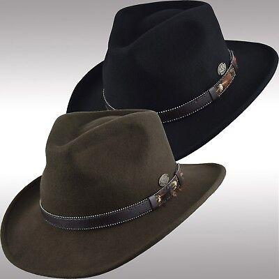 Men's Premium Felt Wool Outback Fedora Indiana Jones Style Crushable Hat (Crushable Fedora)