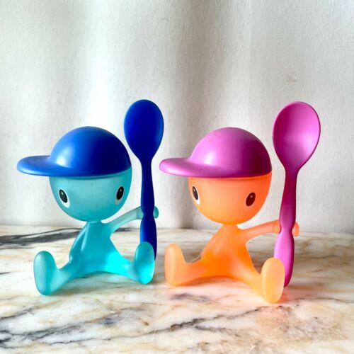 Alessi Italy Cico Plastic Egg Cups Spoons Salt Holders Pair Giovannoni Pink Blue