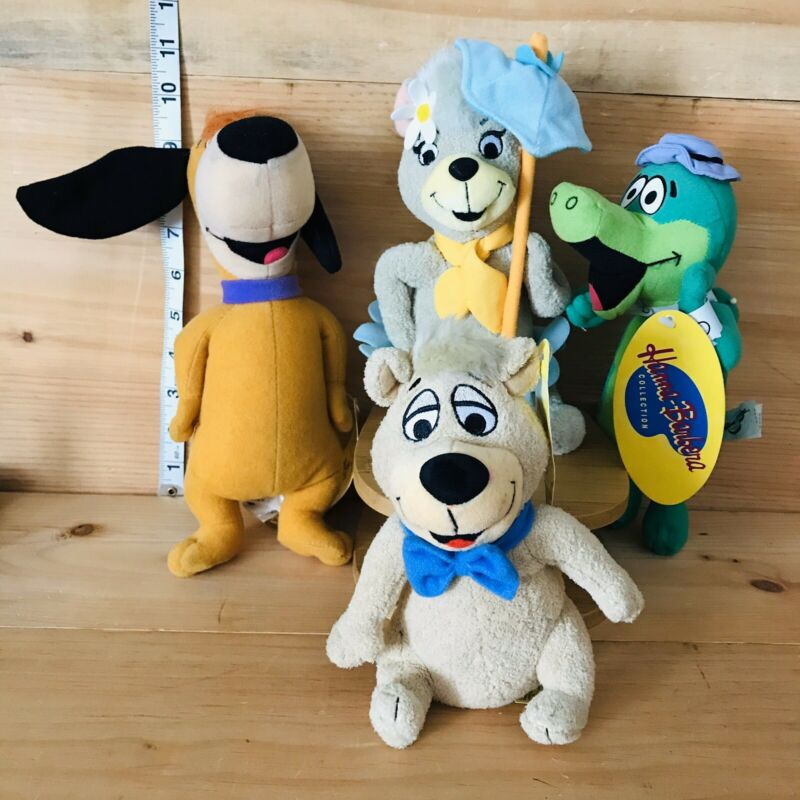 "HANNA BARBERA Wally Gator, Cindy, Huckleberry Hound And  Boo Boo 10"" Plush"