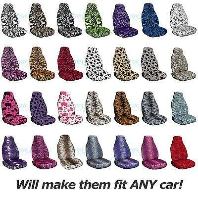 Animal Print Car Seat Covers (Front, Semi-custom) Zebra/Cow/Leopard/Tiger/Bug+ ()