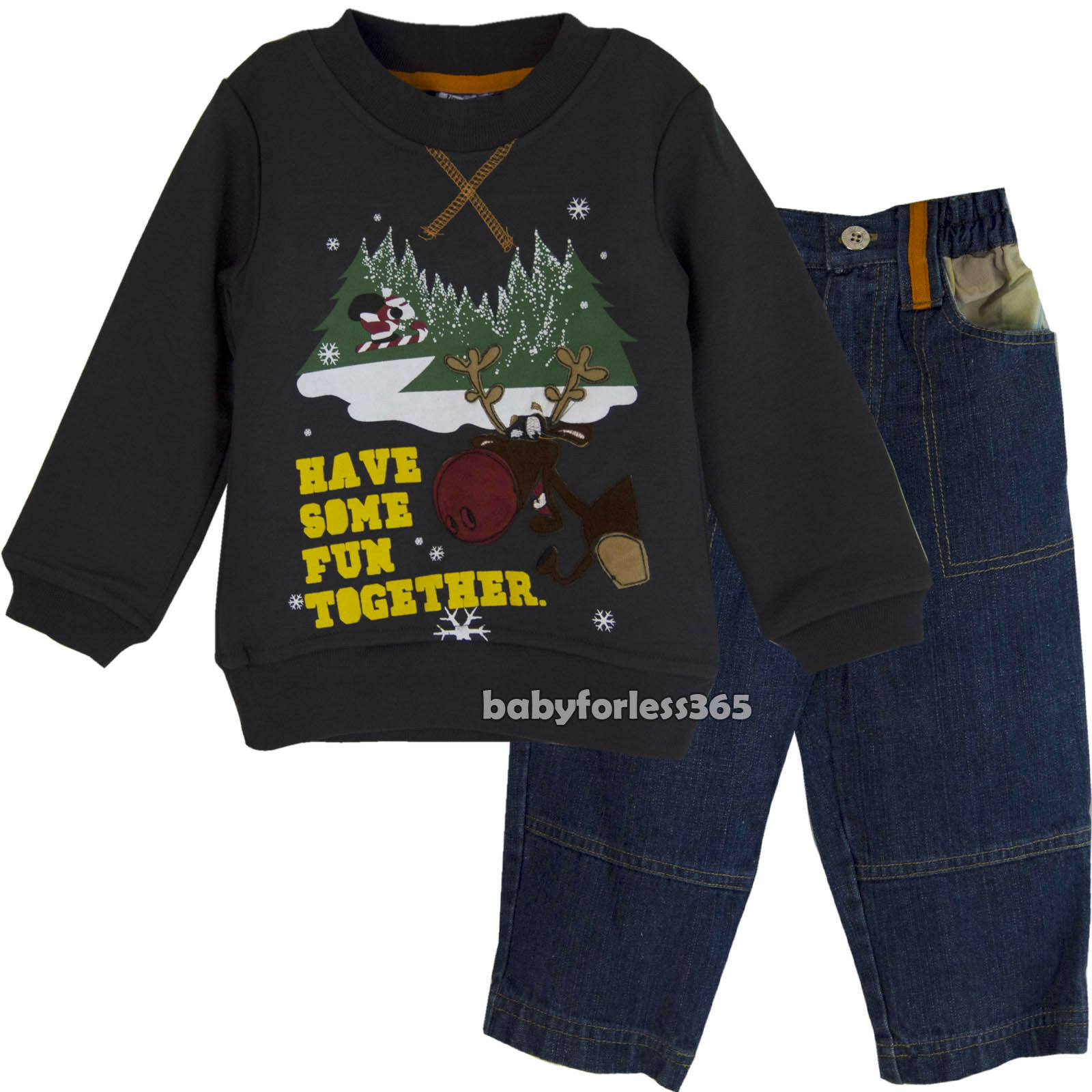 Christmas Toddler Baby Boys Pullover /& Jean Pants outfits Size 12 months 2T 3T